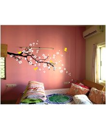 WallDesign Petals And Birds Left Corner Branch Wall Sticker - White & Yellow
