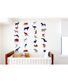 WallDesign Animal Alphabets Wall Sticker - Multi Color
