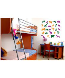 WallDesign Animal Alphabets Wall Sticker - Purple Green & Orange
