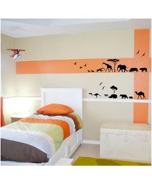 WallDesign Animals Parade Wall Sticker - Black