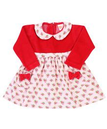 Baby League Corduroy Dress With Velour Yoke - Red
