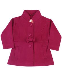 Baby League Full Sleeves Coat With Bow - Mauve Purple