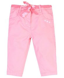 Baby League Twill Pant With Fabric Belt - Light Pink