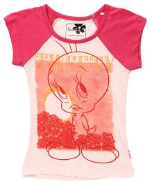 Tweety Contrast Colour Half Sleeve Top - Pink