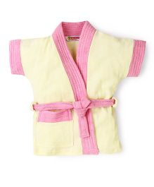 Red Rose Half Sleeves Bath Robe - Yellow Pink