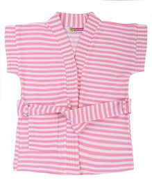 Red Rose Half Sleeves Striped Bath Robe - Pink