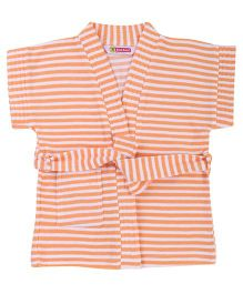 Red Rose Half Sleeves Striped Bath Robe - Orange