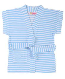 Red Rose Half Sleeves Striped Bath Robe - Aqua Blue