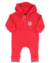 Anthill Hooded Kangaroo Romper Solid Colour - Red