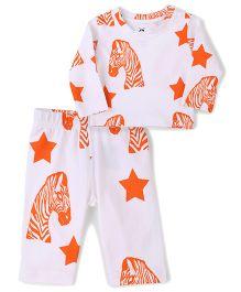 Anthill T-Shirt And Pant Set Zebra Print - Orange And White