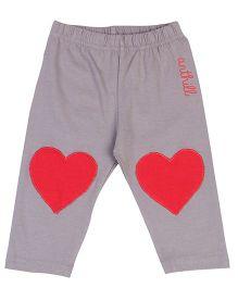 Anthill Full Length Leggings Heart Patch - Dark Grey