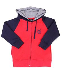 Anthill Hooded Jacket Logo Embroidery - Red And Navy Blue