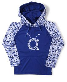 Anthill Raglan Sleeves Hooded Jacket - Blue