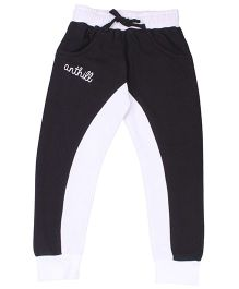 Anthill Full Length Track Pant Solid Colour - White And Black