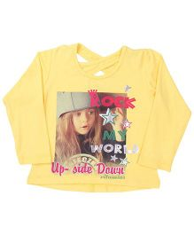 Vitamins Full Sleeves Top Rock My World Print - Yellow