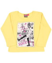 Vitamins Turn-Up Sleeves Top I Can Rock Print - Yellow