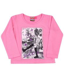 Vitamins Turn-Up Sleeves Top I Can Rock Print - Pink