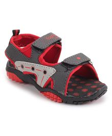 Footfun Floater Sandals With Velcro Closure - Grey Red