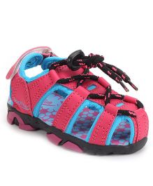 Footfun Closed Toe Lace Up Sandals - Blue Pink