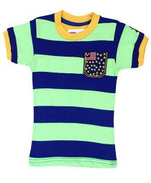New York Polo Academy Half Sleeves T-Shirt Stripes - Green And Blue