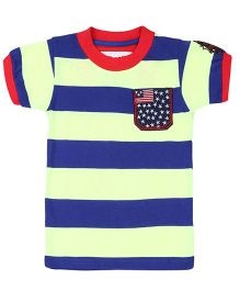 New York Polo Academy Half Sleeves T-Shirt Stripes - Lemon And Blue