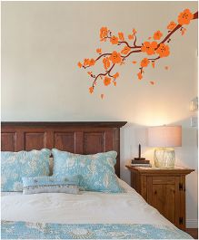WallDesign Wild Paradise Branch Flower Right Corner Wall Sticker - Orange