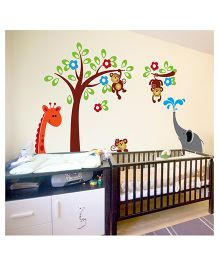 WallDesign Little Animals Hangout With Elephant Wall Sticker - Multicolor