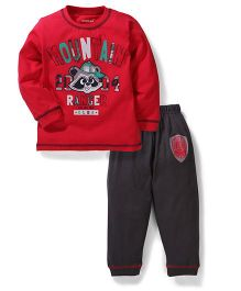Doreme Full Sleeves T-Shirt And Pant - Red Grey