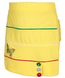 Skirt With Printed Back Pockets - Yellow