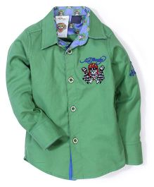 Ed Hardy Full Sleeves Logo Stitched Shirt - Green
