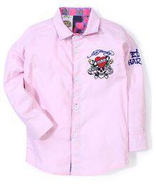 Ed Hardy Full Sleeves Logo Stitched Shirt - Pink