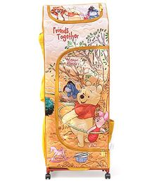 Winnie the Pooh Kids Portable Wardrobe With Wheels - Yellow And Multicolor