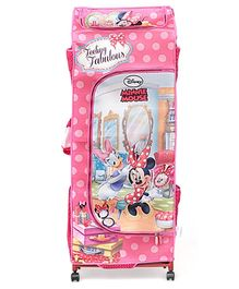 Minnie Mouse Kids Poratble Wardrobe With Wheels - Pink