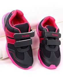 Footfun Casual Shoes With Dual Velcro Closure - Grey Pink