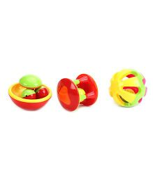 Baby Rattle Set Pack Of 3 - Yellow Red Green Orange