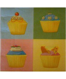 ShopAParty Four Cupcake Napkins - Multicoloured