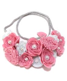 Aayera's Nest Carnation & Rose Bib Necklace - Pink & White