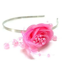Aayera's Nest Rose With Feather Hairband - Pink