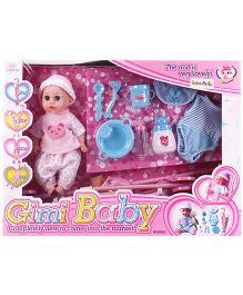 Baby Doll With Feeding Set Blue - Height 28 cm