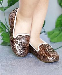 D'chica Shoes Shimmery Loafer Shoes - Golden