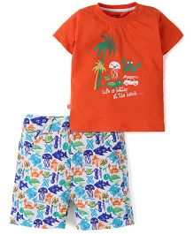 Baby League Half Sleeves T-Shirt And Printed Shorts - Orange Blue