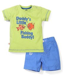 Baby League Half Sleeves T-Shirt And Shorts Set Fish Print - Green Blue