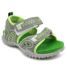 Footfun Floater Sandals With Velcro Closure - Grey Green
