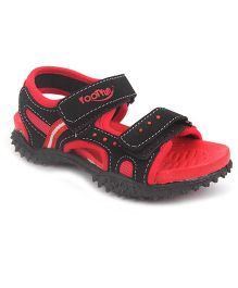 Footfun Floater Sandals With Velcro Closure - Red