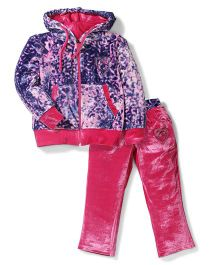 Mickey Animal Pattern Jacket And Pant Set - Pink And Purple