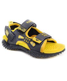 Footfun Floater Sandals With Velcro Closure - Yellow Grey