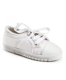 Footfun School Shoes With Tie Up Style - White