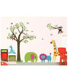 Nidokido Pattern Animals Safari Wall Sticker - Multicolour