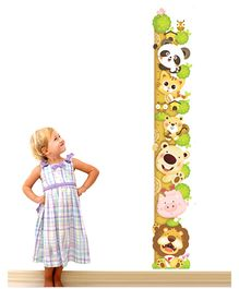 Nidokido Peeping Animals Height Chart Wall Sticker - Multicolour