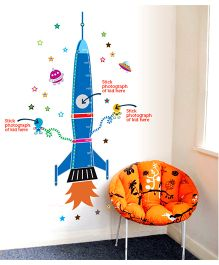 Rocket Height Chart Wall Sticker - Multicolour
